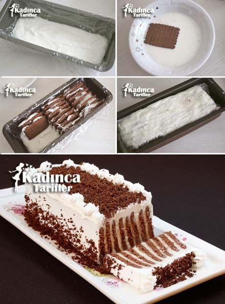 Bisküvili Çizgili Pasta Tarifi Kadincatarifler.com - En Nefis Yemek Tarifleri Sitesi - Oktay Usta