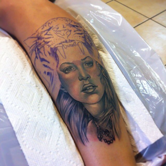 In progress girl forearm tattoo by Poch Best