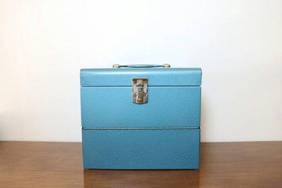 Boîte de bobine de Film Blue, Vintage boite en métal, Home Movie Box, conteneur de stockage, organisateur de métal, décor de Home cinéma, Hollywood, accessoires de cinéma