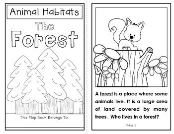 Animal Habitats:  The Forest {A Flap Book Project for Grades 1-2}  Includes student book and written response sheets to facilitate a close reading of the text.  #habitats  #science  #forest  $
