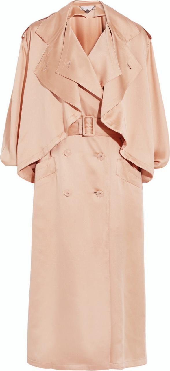 Stella McCartney Frankie Silk-Satin Trench Coat as seen on Rosie Huntington-Whiteley