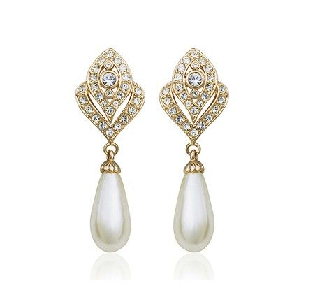 Pearls and crystals 18k rose fold-plated Clip-on Earrings