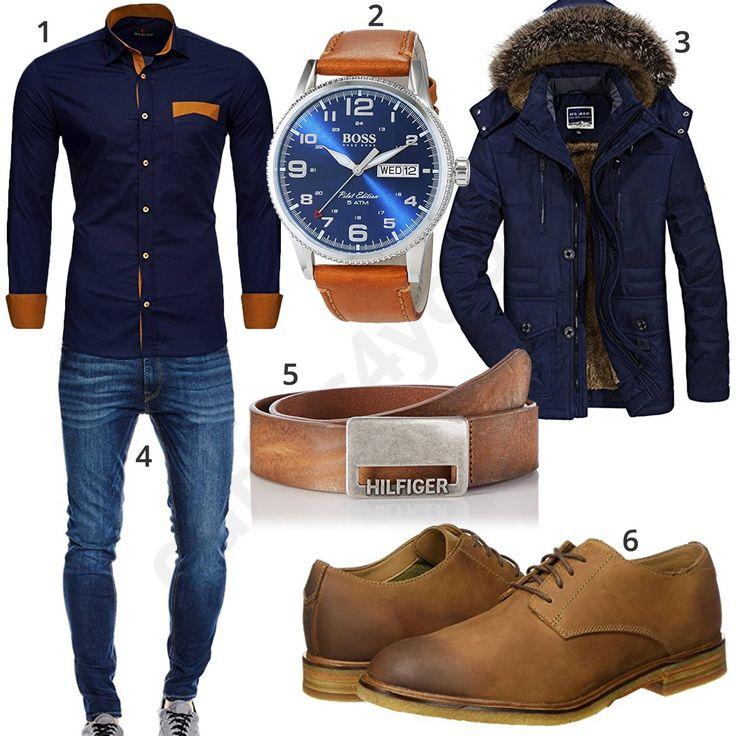 Herren-Style mit dunkelblauem Hemd und Winterjacke – Outfits4You
