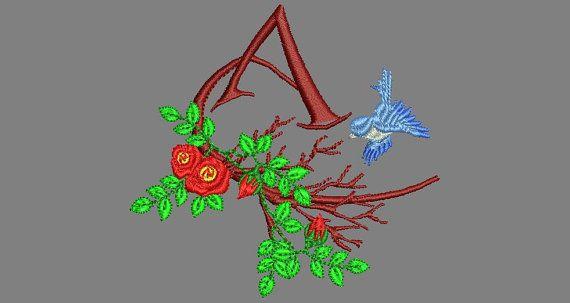 1 Monogramm Rosen auf Ast, Buchstabe A Grösse ca. 85/90 mm für Rahmen 10 x 10 cm, nicht über 10000 Stiche  Artikelbeschreibung: Stickdateien =