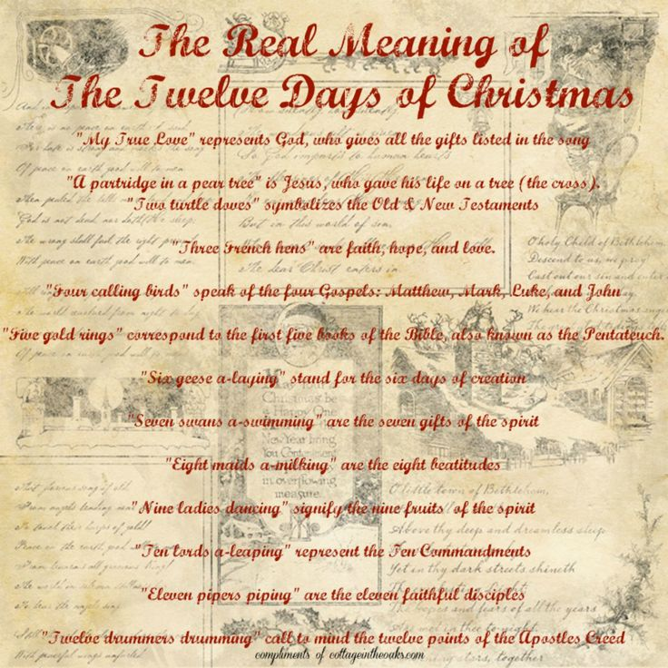 The Real Meaning of the 12 Days of Christmas free printable_Cottage in the Oaks