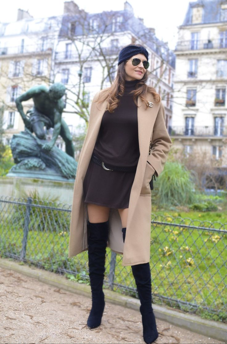 Street Style with camel coat & over the knee boots