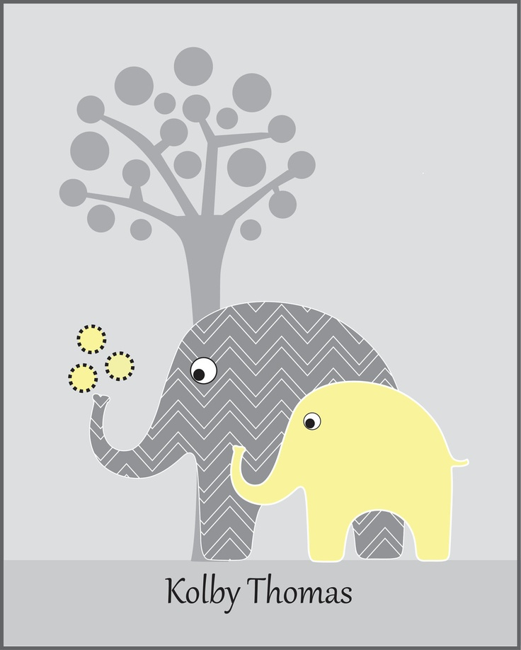 Childrens art, chevron elephant, personalized gray and yellow elephant nursery art, kids wall art print, kids modern elephant art