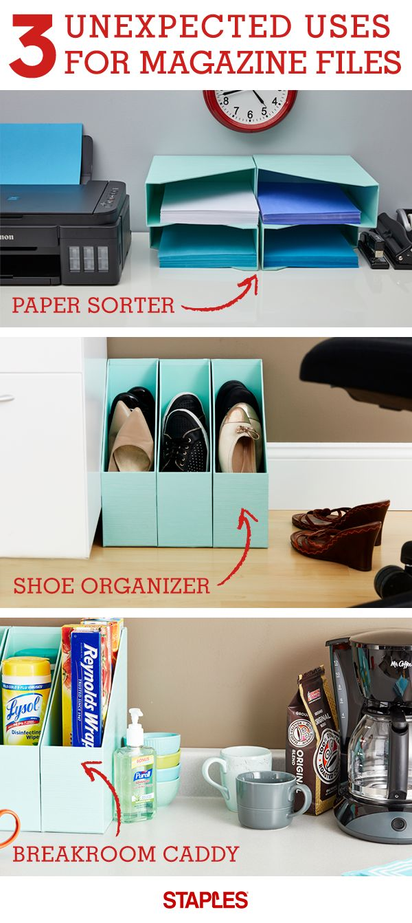 Even if you've cancelled your magazine subscriptions, there's a lot your Martha Stewart magazine files can do for you. Use them as a paper sorter, shoe organizer or a breakroom caddy, and keep your space neat and tidy. Stock up on magazine files and more at Staples.