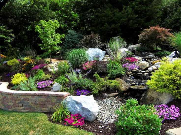 Landscape a slope.  Great color combo and love the dry creek bed.  Erosion Control!
