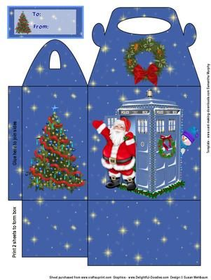 Santa s Tardis Gift Box and Tag on Craftsuprint designed by Susan Mehlbaum - Great gift bag for fans of the doctor. Santa waves to all from the tardis and will make anyone eager to check inside. Print two copies to form gift box, score, fold, apply adhesive, and you have a unique gift bag that will grab the attention of any fan. Gift tag included. - Now available for download!