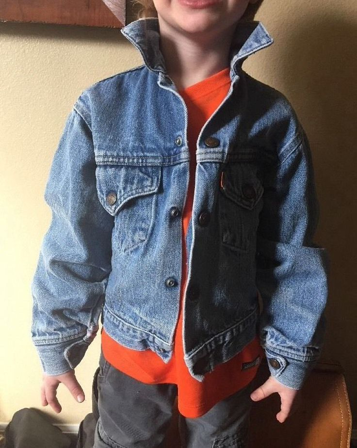 Levis Vintage Kids 6-7 Orange Tab Light Denim Jean Jacket Coat Button Collar  | eBay