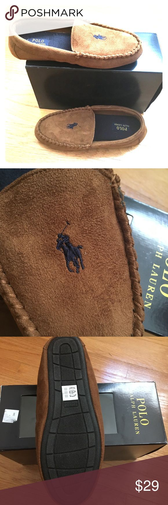⭐️NEW Men's Polo Ralph Lauren brown slippers New with box. Polo Ralph Lauren brown slippers.  Navy blue polo emblem on top of each slipper. Cushion insoles. Fleece interior. Rubber Outsole.   🛍BUNDLE=SAVE  🚫TRADE  💯Authentic   🖲USE BLUE OFFER BUTTON TO NEGOTIATE   ✔️Ask Questions Not Answered in Description--Want You to Be Happy! Polo by Ralph Lauren Shoes