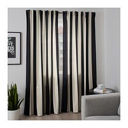 IKEA - OMEDELBAR, Curtains, 1 pair, You can hang the curtains on a curtain rod through the hidden tabs or with rings and hooks.The curtains lower the general light level and provide privacy by preventing people outside from seeing directly into the room.