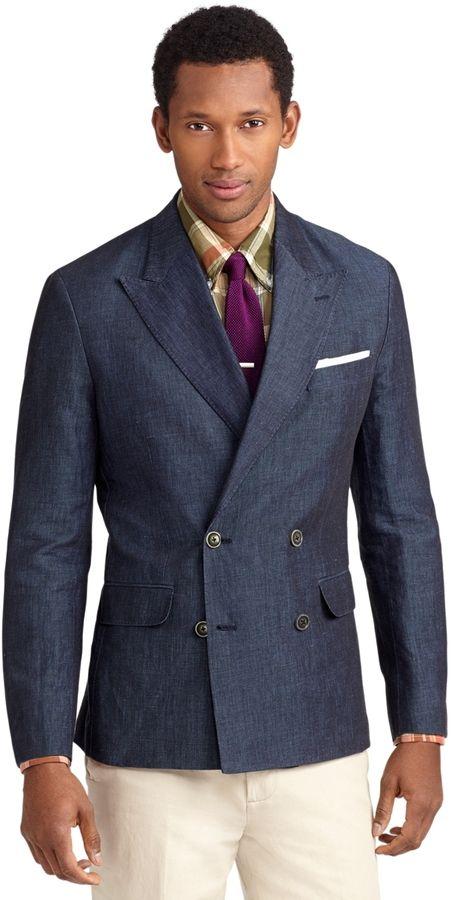 $448, Navy Double Breasted Blazer: Brooks Brothers Milano Fit Double Breasted Cotton And Linen Sport Coat. Sold by Brooks Brothers. Click for more info: https://lookastic.com/men/shop_items/36838/redirect