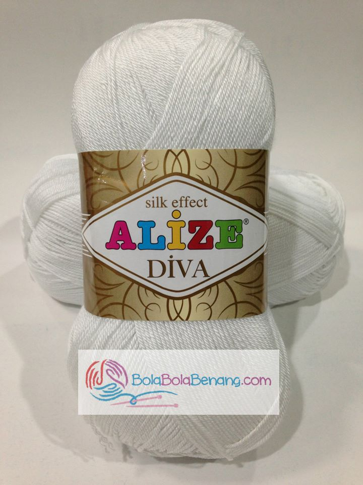 ALIZE DIVA PLAIN 55 White, Price: 90.000,-/gulung, Bahan: 100% Microfiber Akrilik, Berat/Panjang: 100gr/350m, Knitting Needles: 2,5mm – 3,5mm, Crochet Hook: 1mm - 3mm