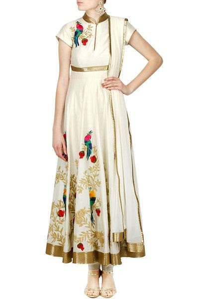 Suits, Clothing, Carma, Off white anarkali with dori and thread embroidery