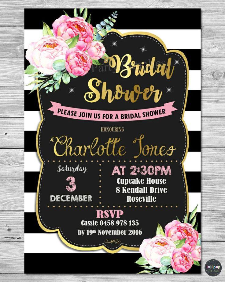FLORAL BRIDAL SHOWER INVITATION INVITE CARD PEONIES FLOWER WEDDING BIRTHDAY #PersonalisedInvitations #Wedding