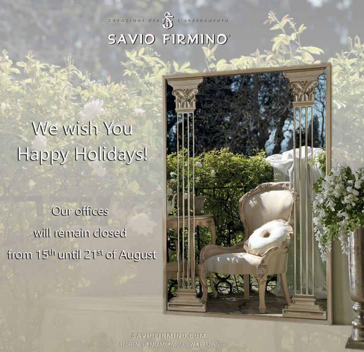 Happy #holidays! Our offices will remain closed from 15 until 21 of August #summer http://www.saviofirmino.com