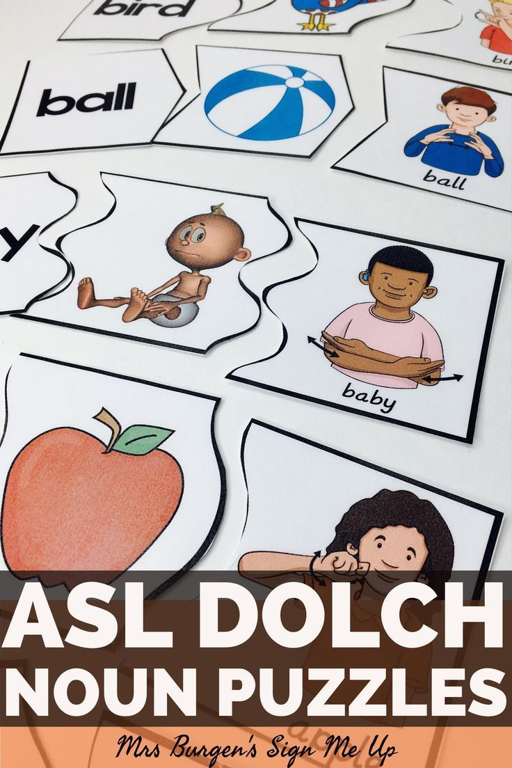 American Sign Language Dolch NOUN puzzles.  Sight word activities perfect for literacy centers or independent work