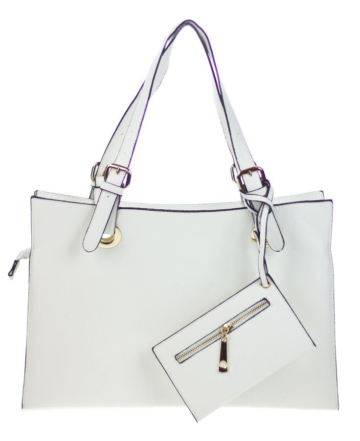 """Canal Collection PVC Leather Fashion OL Expandable Slim Square Tote (White). DESIGN: fashion slim but expandable design; zipper top closure at main compartment: 3 inner compartments, 2 slip pockets (1 with magnetic snaps pocket). MATERIAL: manmade synthetic PVC leather, solid-colored fabric lining, gold-tone hardware. ACCESSORIES: this tote comes with double PVC leather shoulder straps adjustable up to 12"""" drop; 1 key chain wallet. DIMENSIONS: exterior 16.5""""Length X 11.5""""Height (not…"""