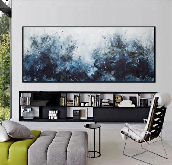 large abstract seascape painting blue black by
