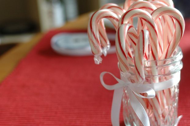 Decoração de Natal com bengalas doces