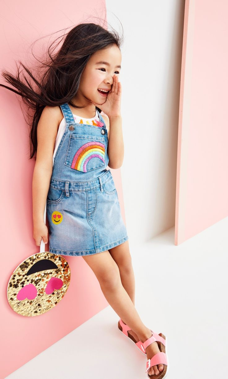 Toddler girls' fashion | Toddler girls' clothes | Emoji patch skirtall | Double-strap sandals | Tassel tank top | The Children's Place