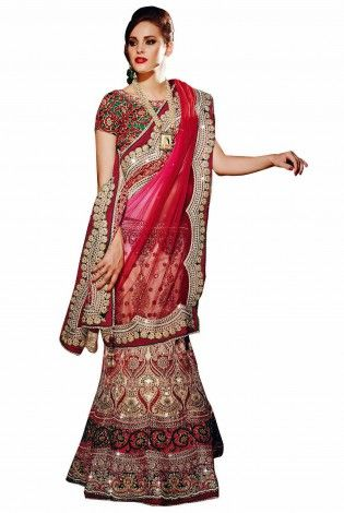 Red And Dark Green Net And Satin Lehenga Choli