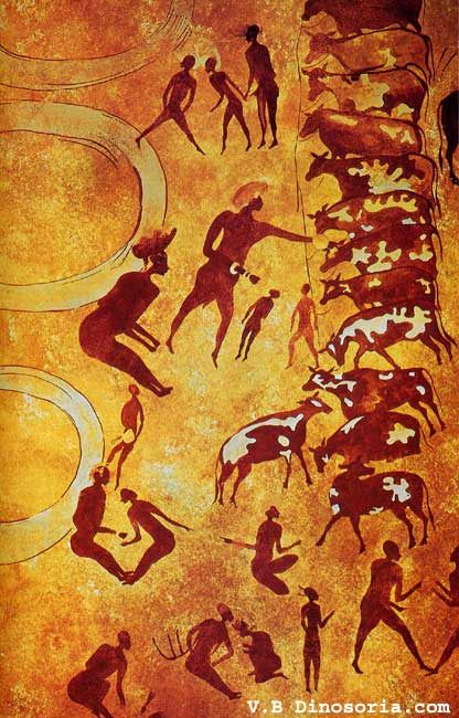 Peintures de Tassili. Les chasseurs-pasteurs de l'âge de pierre occupaient le Sahara entre 8 000 et 3 000 avant notre ère. Peinture rupestre du Tassili. Style des Bouviers. Paris, Musée de l'Homme. © dinosoria.com