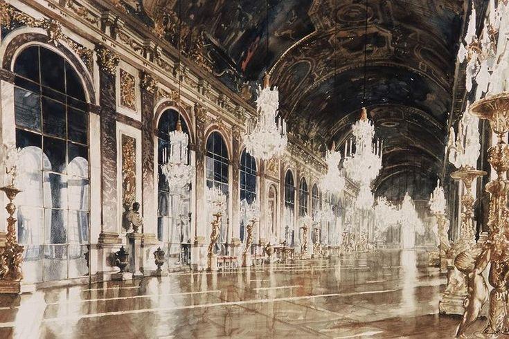 Архитектор-акварелист Paul Dmoch. Galerie des Glaces, Versailles