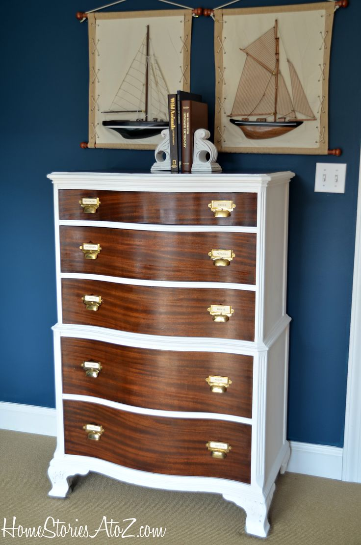 Two-toned Dresser with Card Catalog Pulls. Beautiful makover by @homestoriesatoz