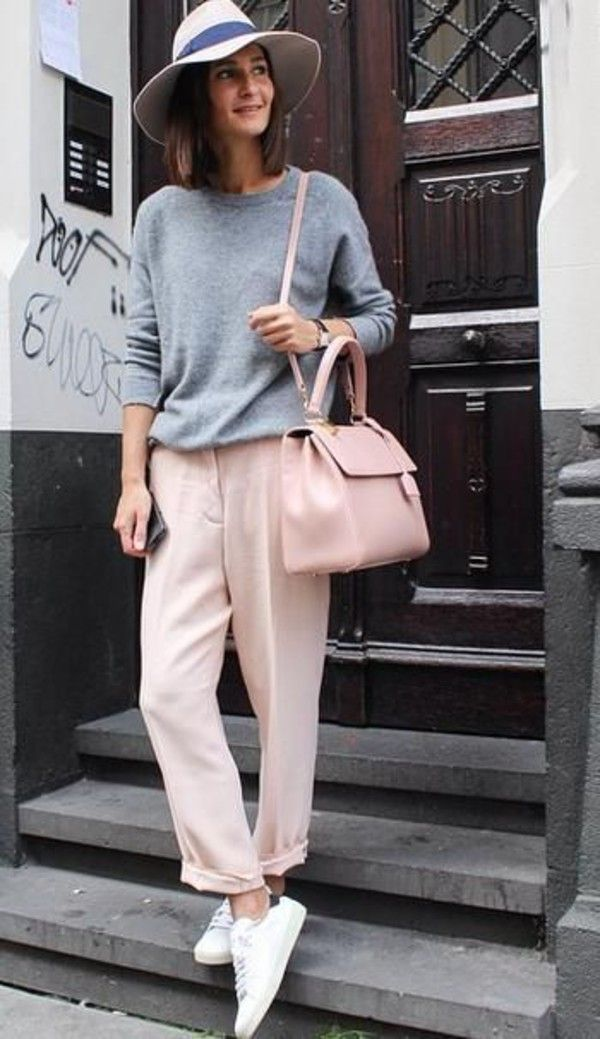 Pants: casual classy chic preppy outfit street style nude pink pastel bag stan smith adidas grey