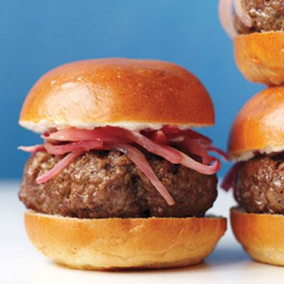 Bistro Sliders with Pickled Onions #NatlBurgerMonth: Mini Burgers, Grilled Minis, Pickled Onions, Small Appetit, Bistros Sliders, Martha Stewart, Movie Night, Minis Burgers, Onions Recipes