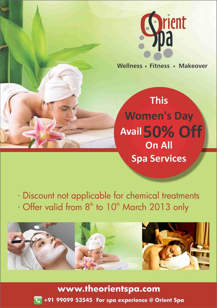 Celebrate this women's day with the Orient Spa & avail 50% off on all SPA Services. For more details visit (www.theorientspa.com) or call +91-99099-53545