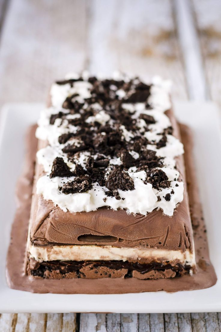 Prepare this easy ice cream cake recipe in just five minutes, then freeze until solid. Sure to wow the crowd at your next gathering!