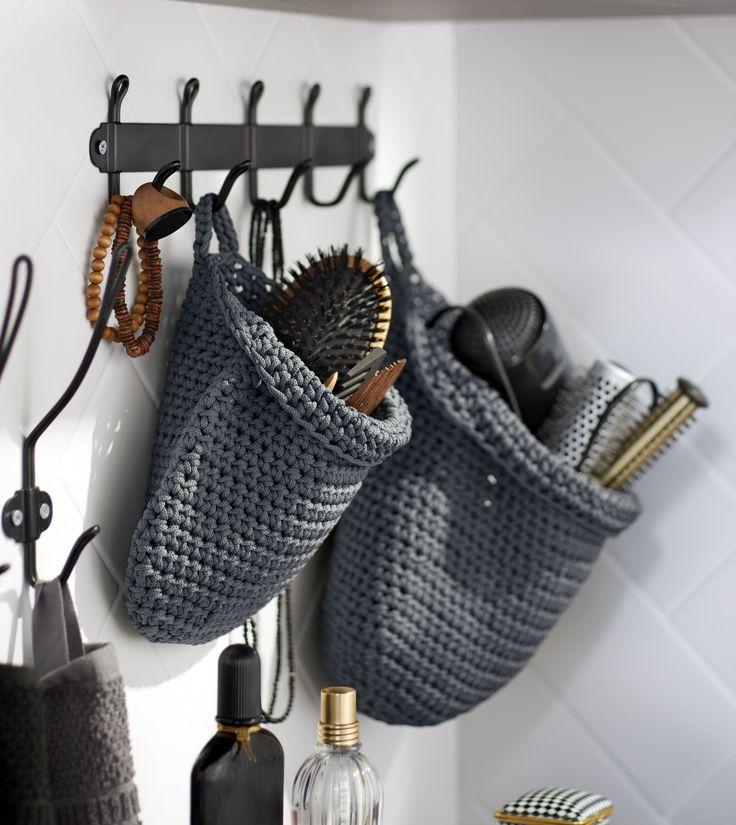 NORDRANA mand | IKEAcatalogus nieuw 2018 IKEA IKEAnl IKEAnederland set van 2 gehaakt opberger badkamer slaapkamer woonkamer opgeruimd opruimen opbergen