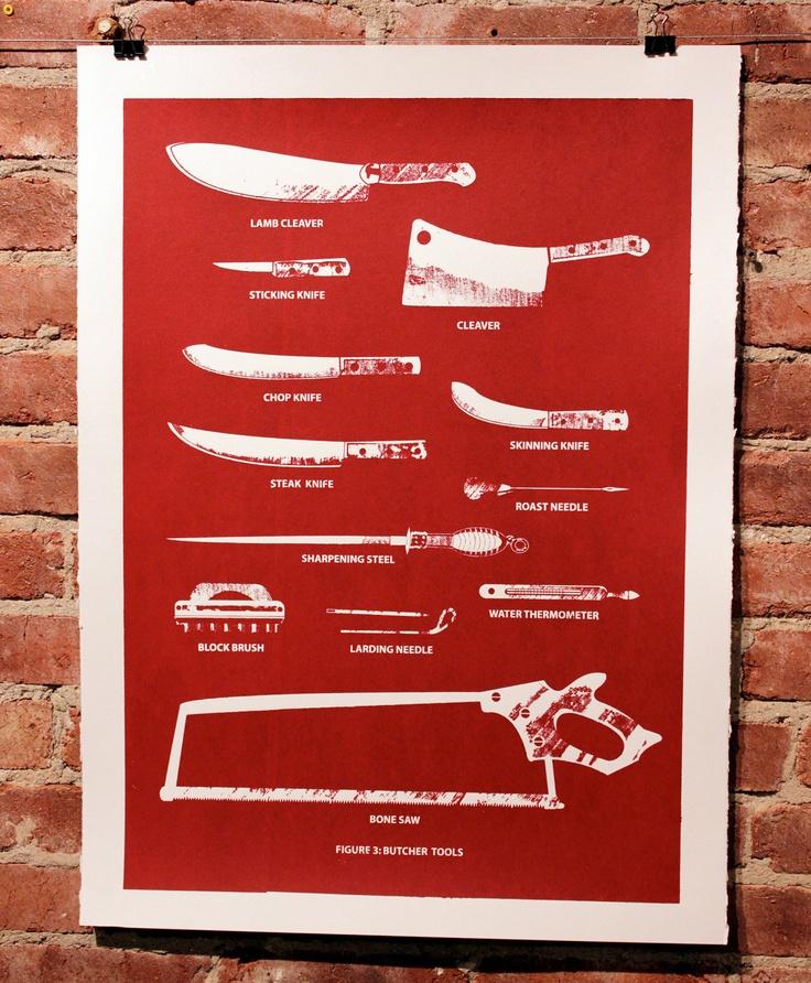 Butcher tools silkscreen print oxblood red by