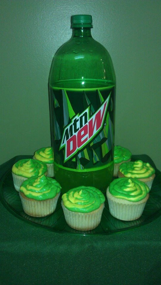 Finally made the infamous Mountain Dew cupcakes from scratch. Yes, they were awesome.    For recipe visit All Things Cupcake
