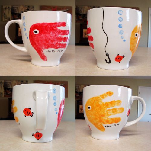 Cute gift - fish handprint mug. Making this for my dad when we have kids