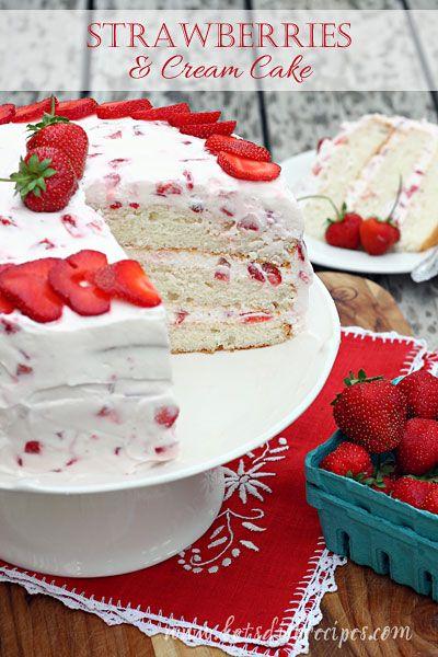 Strawberries and Cream Layer Cake on MyRecipeMagic.com
