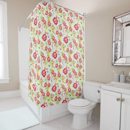 #Floral Tropical Rose Cabana Shower Curtain - #Bathroom #Accessories #home #living