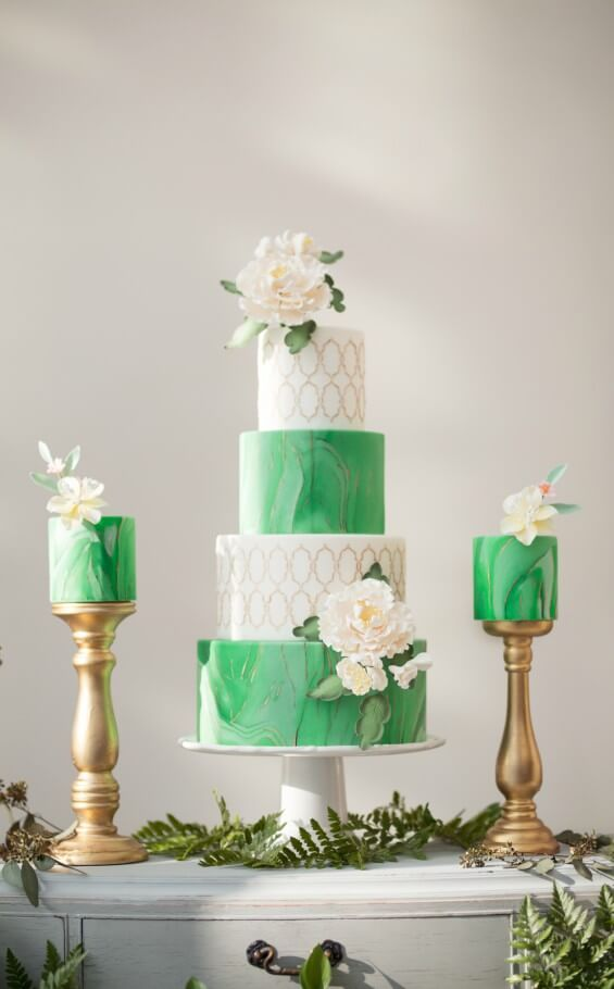 Modern romantic wedding cake - green, gold and white marble wedding cake and sweetheart design with greenery embellishments  Whim Event Planning & Design Modern Toronto Wedding at the Aga Khan Museum Photography by Tom Wang Photography