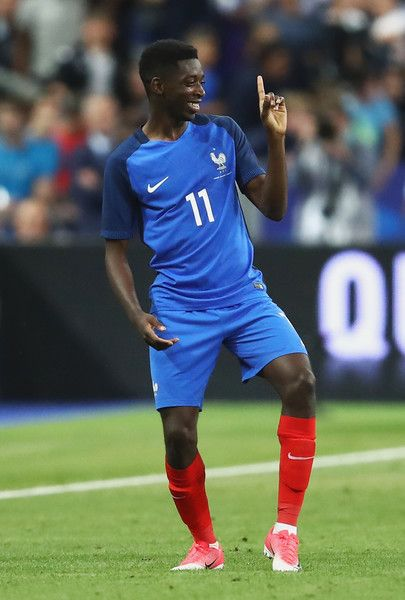 Ousmane Dembele of France celebrates as he scores their third goal during the International Friendly match between France and England at Stade de France on June 13, 2017 in Paris, France.