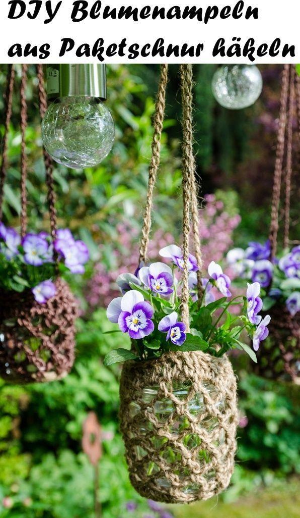Diy Blumenampeln Aus Paketschnur Häkeln Diys Pinterest Schnur