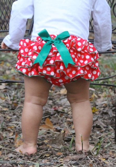 Red/White dot with green Christmas Ruffle Bloomers