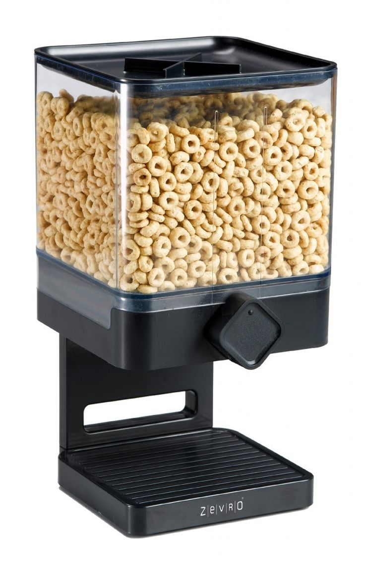 ZEVRO THE ORIGINAL INDISPENSABLE CEREAL DISPENSER IN BLACK - COMPACT EDITION