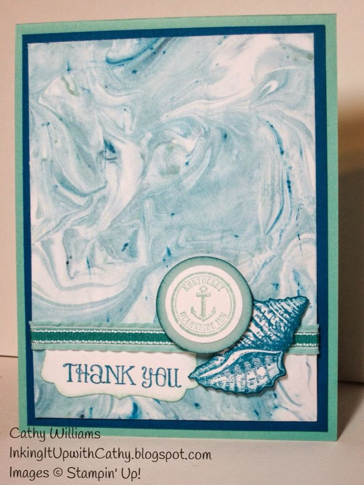 Shaving Cream technique using Stampin' Up!'s By the Tide set.