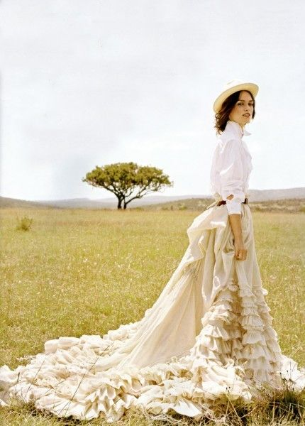 Keira Knightly wearing a custom Peter Som skirt in Vogue.