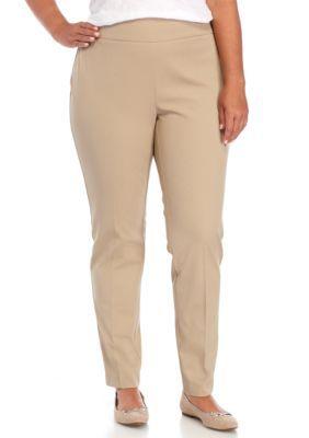 Crown & Ivy™ Women's Plus Size Pullon Woven Stretch Pant - Tan/Khaki - 18W