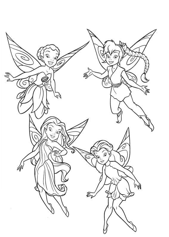 Printable Coloring Page - several Tinkerbell & friends coloring ...